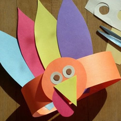感恩节手工小制作 利用卡纸做卡通火鸡头饰