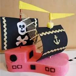 幼儿园手工海盗船制作 清洁海绵做玩具小船