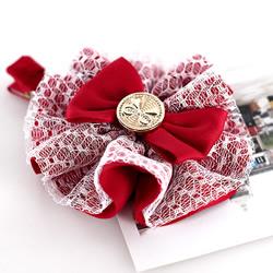 洛丽塔风格的蕾丝蝴蝶结发卡手工制作图解