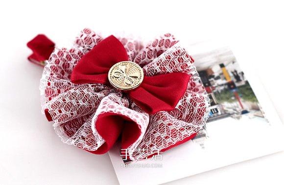洛麗塔風格的蕾絲蝴蝶結髮卡手工製作圖解