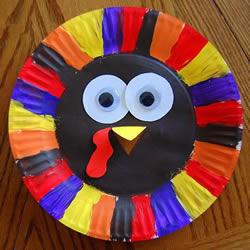 感恩节的废物利用小制作 用纸餐盘做漂亮火鸡