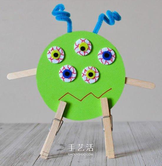 幼儿万圣节小怪物DIY 旧光盘废物利用做怪物 -  www.shouyihuo.com