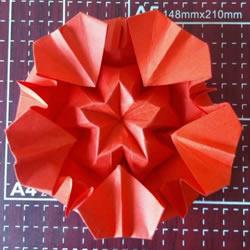 漂亮五角星花怎么折图解 带有五个爱心花瓣
