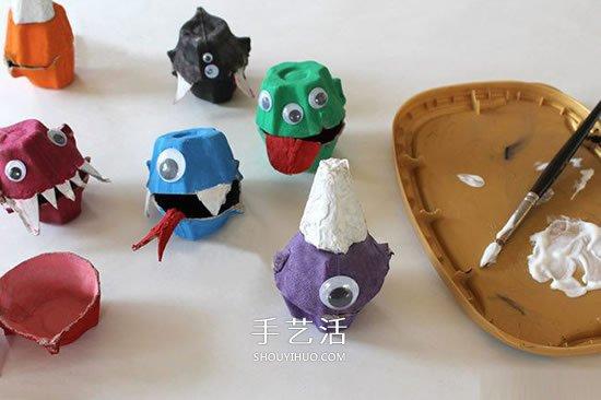 鸡蛋托废物利用 手工制作万圣节怪物糖果盒 -  www.shouyihuo.com