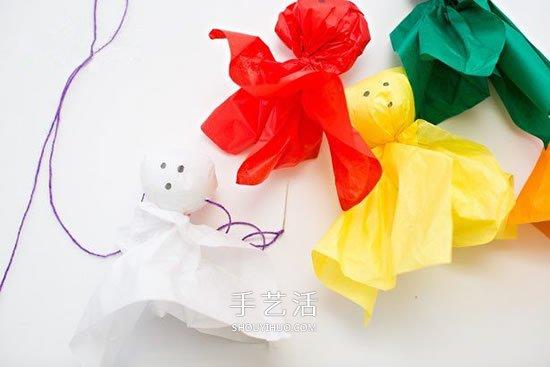 万圣节漂亮装饰DIY 利用彩纸制作可爱幽灵娃娃 -  www.shouyihuo.com