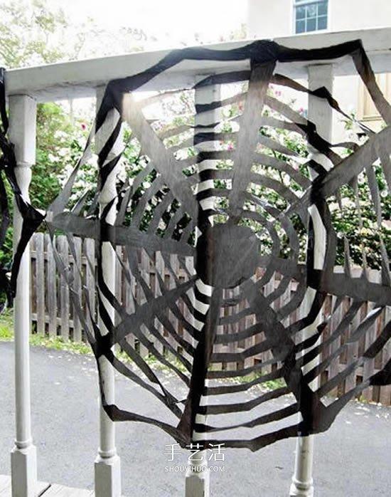 黑色垃圾袋手工小制作 做一个万圣节蜘蛛网装饰 -  www.shouyihuo.com