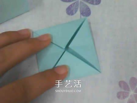 带盖方形包装盒的折法 还包括盒盖上的蝴蝶结 -  www.shouyihuo.com