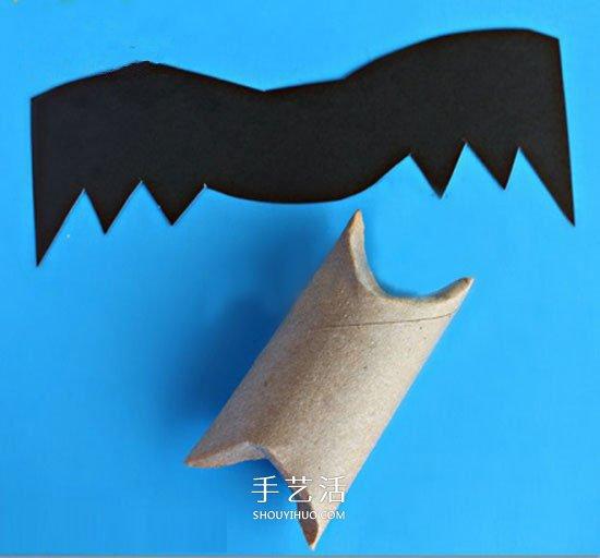 衛生紙筒芯廢物利用 手工製作萬聖節可愛蝙蝠