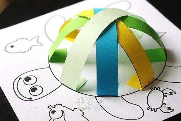 幼儿园手工卡纸鱼_创意乌龟立体画的画法 卡纸手工制作立体小乌龟_手艺活网