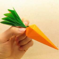 手工蔬菜折纸教程 带叶子胡萝卜的折法图解