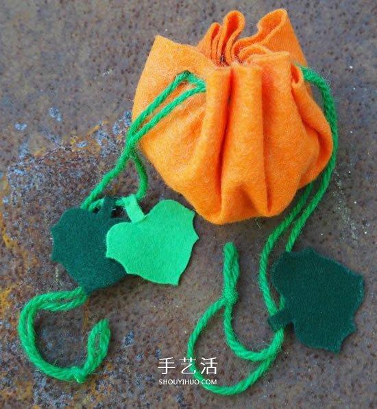 万圣节南瓜袋制作方法 布艺南瓜糖果袋的做法 -  www.shouyihuo.com
