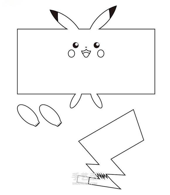 自製可愛的小動物 卡紙皮卡丘手工製作教程