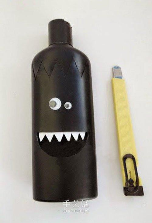 洗髮水瓶/沐浴液瓶DIY 怪物風格卡通筆筒製作