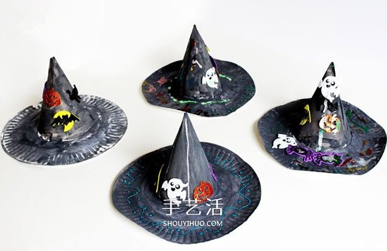 蛋糕盤廢物利用 手工製作萬聖節女巫帽的方法