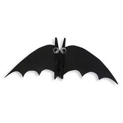 木夹子手工制作蝙蝠 幼儿园简单做万圣节蝙蝠