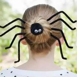 万圣节恶搞女生发饰DIY 扭扭棒做蜘蛛发饰图解
