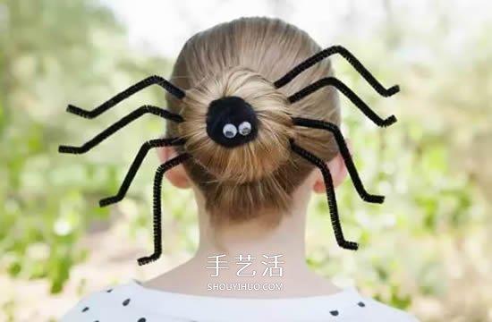 萬聖節惡搞女生髮飾DIY 扭扭棒做蜘蛛髮飾圖解
