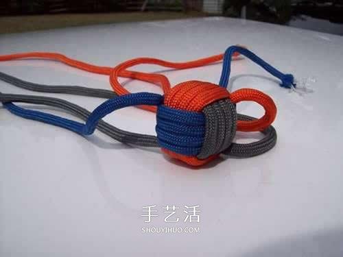 球體刀墜用傘繩編織圖 圓球傘繩刀墜的編法
