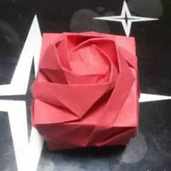 玫瑰纸盒的折法图解 情人节玫瑰礼品盒折纸
