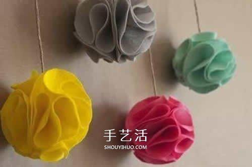 不織布繡球的做法圖片 自製新年繡球掛飾圖解