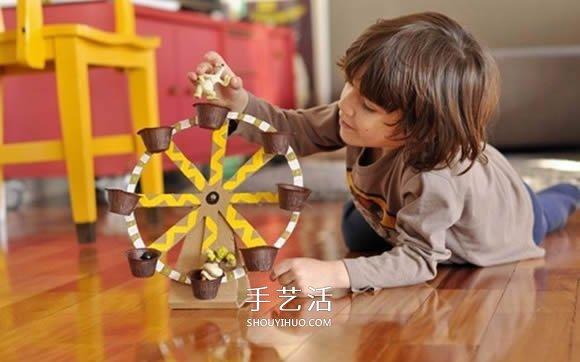 手工摩天輪怎麼做 瓦楞紙製作摩天輪玩具圖片
