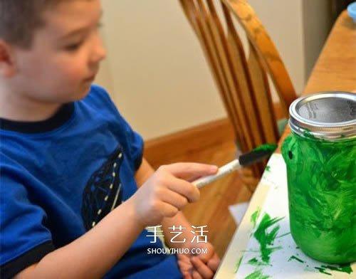 萬聖節玻璃燈籠的做法 玻璃瓶廢物利用做燈籠