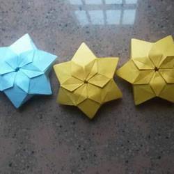 漂亮纸花的折法 手工折纸六角星花的步骤图解