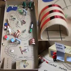 纸箱纸盒废物利用 DIY玩具火车轨道/飞机跑道