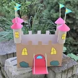 玩具城堡手工制作方法 废纸箱做城堡的图解