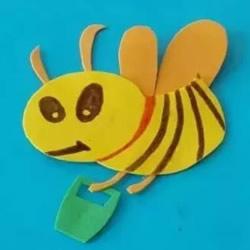 海绵纸剪贴手工 简单做一只可爱的小蜜蜂