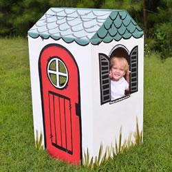 孩子的移动小屋 废纸箱做小房子的方法图