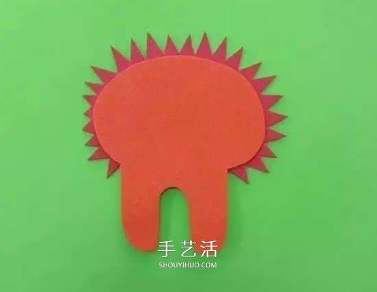 小獅子剪貼畫的製作方法 海綿紙做獅子的教程
