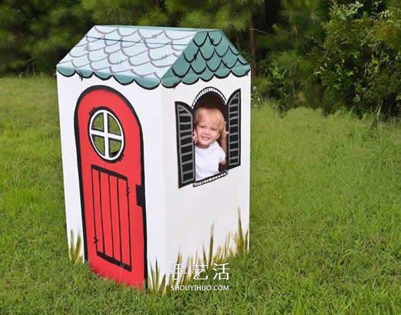 孩子的移動小屋 廢紙箱做小房子的方法圖解