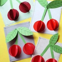 有趣的剪纸贴画教程 用卡纸剪贴立体樱桃