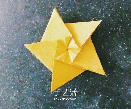 立体小星星的折法图解 漂亮五角星怎么折教程 -  www.shouyihuo.com