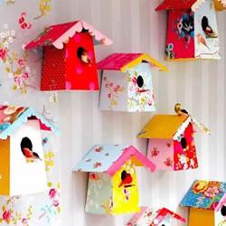 牛奶盒废物利用小制作 做成漂亮的鸟笼装饰