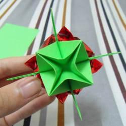 手工折纸花托的教程 可以完美搭配川崎玫瑰