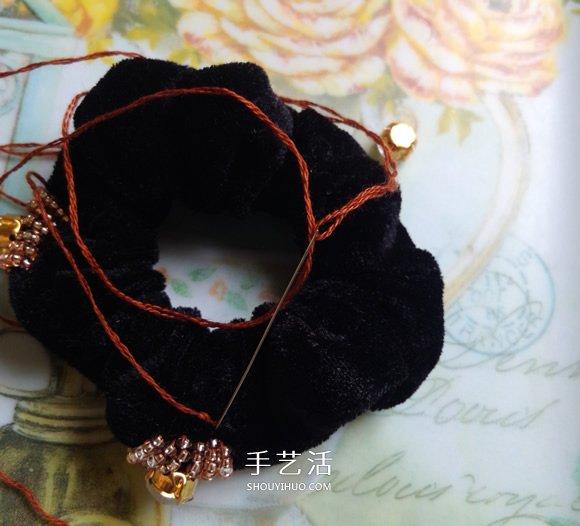 普通發圈改造教程 DIY好看串珠發圈的方法