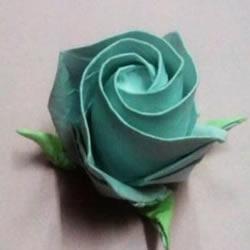 一张纸折玫瑰花的图解教程 连花萼也一起折出
