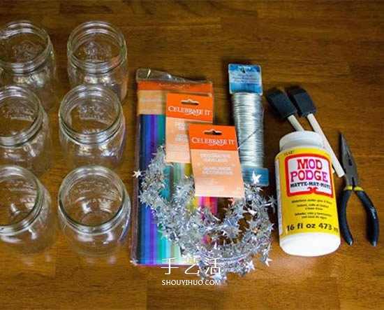 简单又漂亮的玻璃瓶灯笼手工制作图解教程 -  www.shouyihuo.com