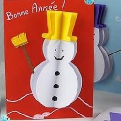 春节雪人贺卡的制作方法 也可作为圣诞新年贺卡