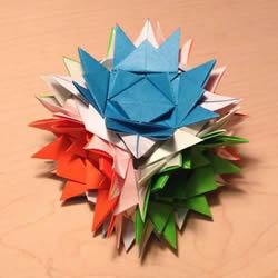 立体组合刺球的折法 带刺花球的折纸图解