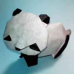 国宝大熊猫的折法图解 两张纸折纸熊猫步骤图