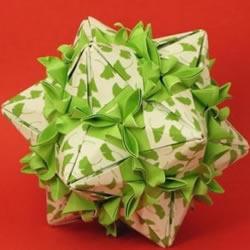 春意盎然的花球!手工折纸立体纸花球的教程