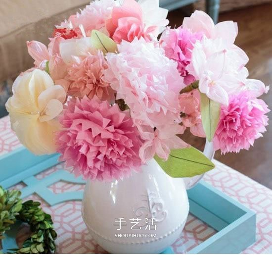 皱纹纸做花的方法 组合制作成美丽的装饰插花 -  www.shouyihuo.com