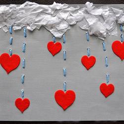 教师节创意贺卡:漂亮爱心雨贺卡手工制作