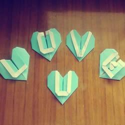 LOVE U字母心的折法 情人节表白爱心折纸图