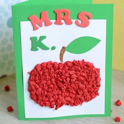 红红苹果送老师 漂亮手工教师节贺卡制作方法