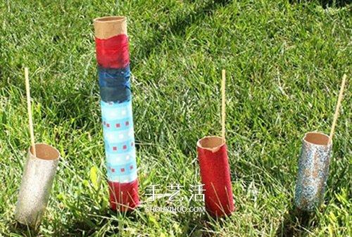 幼兒園爆竹手工做法 捲紙筒做火箭爆竹玩具