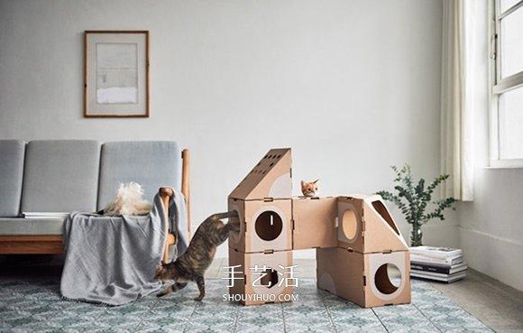 玩它千遍也不厭倦! 瓦楞紙做的趣味貓窩